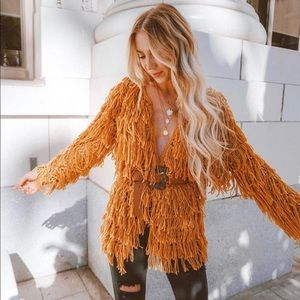 Mustard color shag fringe oversized cardigan